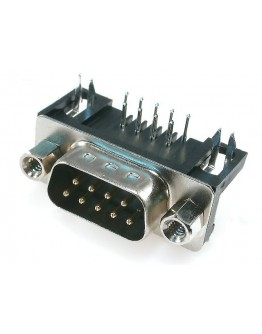 Connector D-Sub-9 pins,male-angled