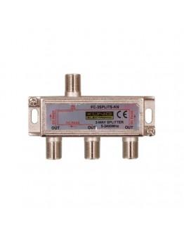 3-way satellite F-splitter, 5-2400 MHz