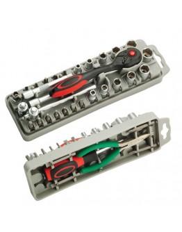 "35Pcs 1/4""DR Socket & Screwdriver W/Long Nose Plier Set SD2308"